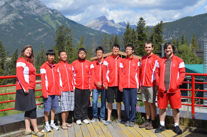 The 2015 Canadian Math Team with coaches Lindsey Shorser (far left) and Jacob Tsimerman (far right) with the 2015 Canadian IMO Team